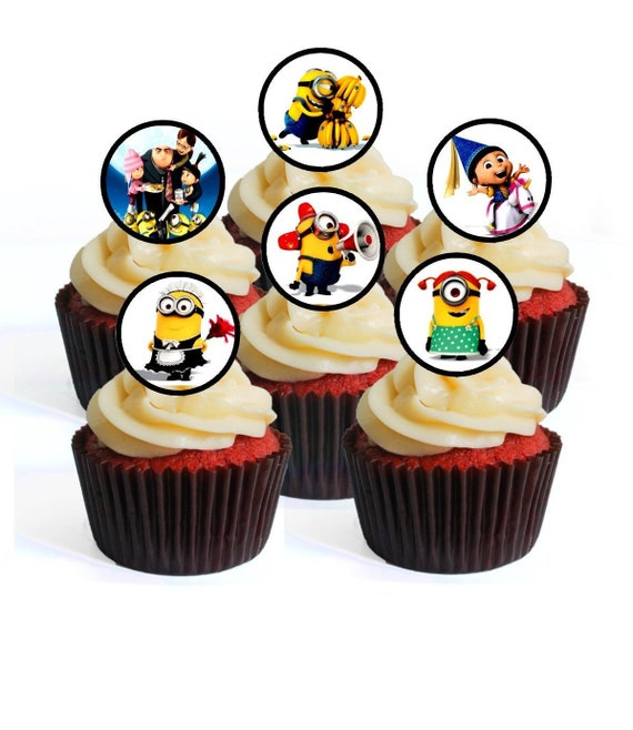 MINION SUPERHEROES EDIBLE WAFER CUPCAKE FAIRY CAKE TOPPERS DECORATIONS x 30