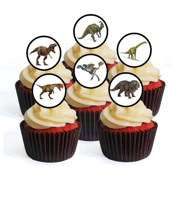 30 PRE-CUT 2 DINOSAURS  BIRTHDAY PARTY CUPCAKE EDIBLE RICE WAFER PAPER TOPPERS