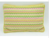 Vintage Needlepoint Pillow Yellow Pink Green Chevron Stitch 15 quot x 10 quot