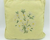 Vintage Yellow Floral Needlepoint Pillow
