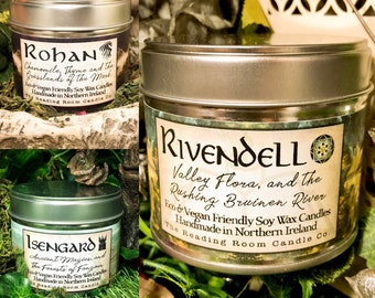 The Fellowship Collection- 3 Pure Soy Wax Candles- Book inspired* Rivendell, Rohan & Isengard