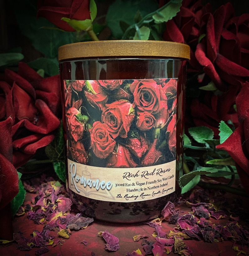 Romance Literature Inspired Pure Soy Wax Candle Rich Red image 0