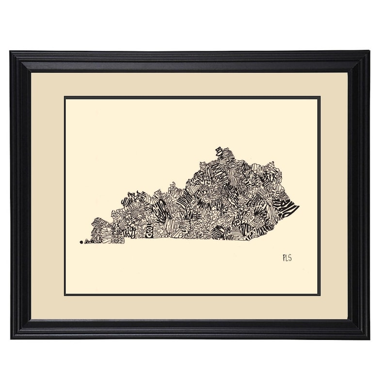 photo regarding Printable Map of Kentucky Counties called Kentucky Print, Kentucky Counties, Kentucky Place Map, Kentucky Artwork, Wall Decor, Wall Artwork, Black and White, Calligraphy, pen ink