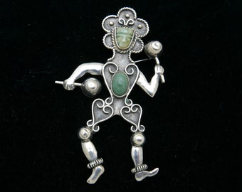 vintage antique turquoise flamenco dancer brooch pin bp2107 Mexico 925 silver