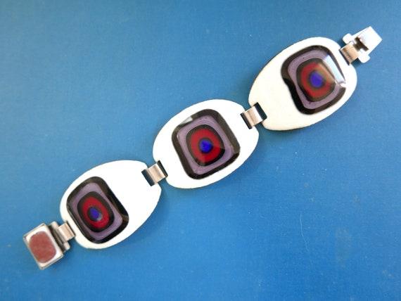 Amazing Classic Vintage Mod Modernist Bullseye Enamel Bracelet