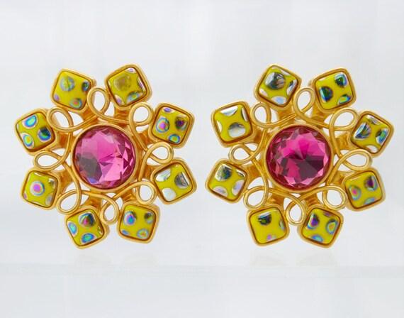 Vintage 1980s Statement Yellow Flower Earrings Jea