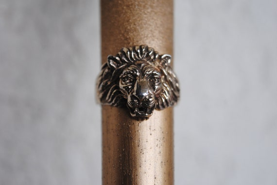 Lion head ring • Lion silver ring • Gold plated li