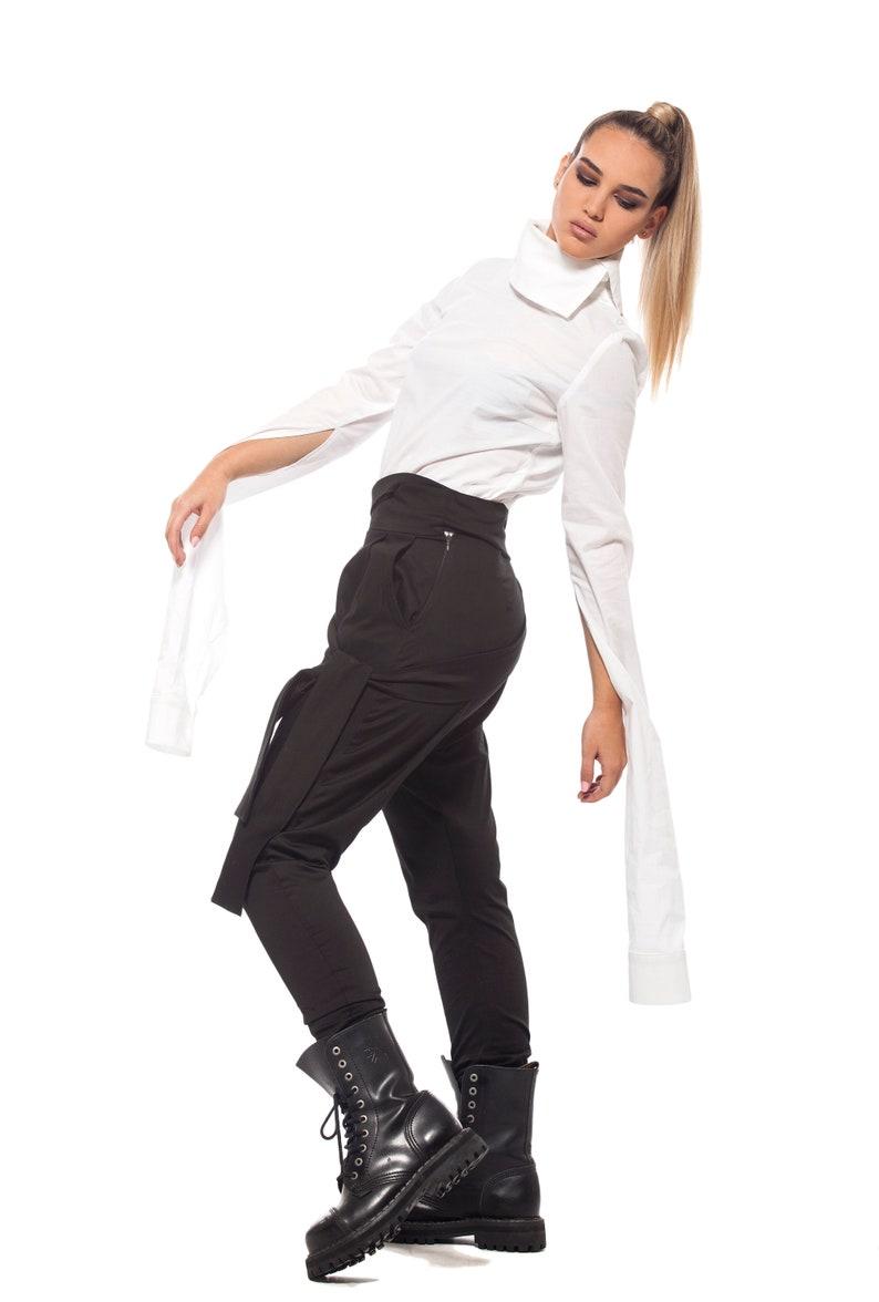 Long Black Wide Tapered Leg Spring PantsWomen/'s Trousers with Belt Cropped Asymmetrical Plus Size Trousers VS4U
