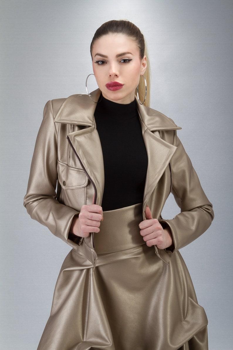 Short Rocker Jacket Party Cocktail Formal Bold Statement Set Golden Jacket /& Skirt Set Faux Leather Floor Length Skirt Asymmetrical Skirt