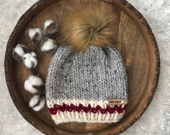 03cc75d65a3 Grey cream and red Beanie Toque toddler size ages 1-4 Luxury Faux Fur Pom  Pom Slouchy boy or girl unisex sock monkey
