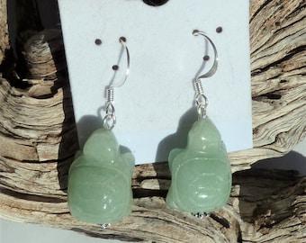 Carved Green Aventurine Turtle Earrings
