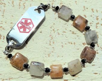 Quartz with Pyrite Medical ID Band