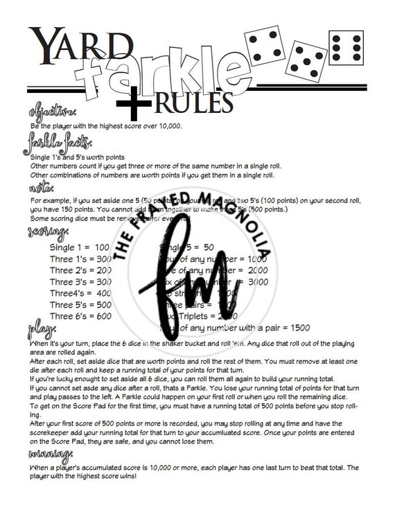 It is a photo of Printable Farkle Rules for diy