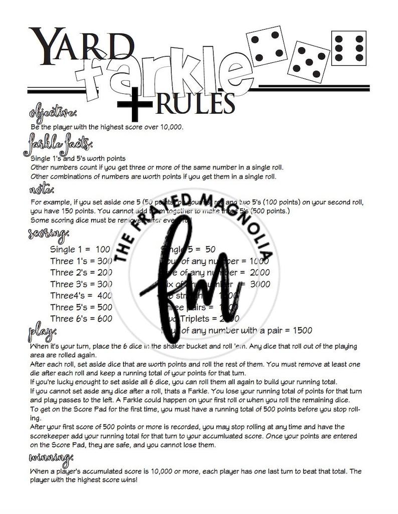 image about Farkle Rules Printable identify Backyard Farkle Suggestions