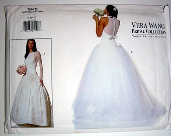 4d32ec06146b Vintage Vogue Vera Wang wedding dress pattern, tulle skirt gives frothy  fairy look to skirt, bridal gown pattern 1945 8 10 12