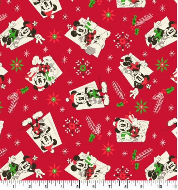 Disney Christmas Fabric By The Yard.Disney Christmas Fabric Mickey Mouse And Minnie Wear Buffalo Plaid In Vintage 1930 S Steamboat Willie Look Fat Quarters Or By The Yard