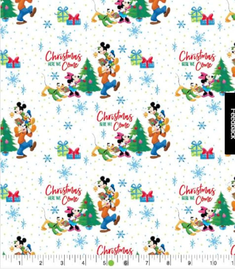 Disney Christmas Fabric By The Yard.Disney Christmas Fabric Mickey Mouse And His Friends Minnie Goofy And Their Dog Pluto Christmas Fabric Fat Quarters By The Yard