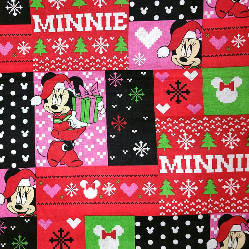 Disney Christmas Fabric By The Yard.Ugly Sweater Minnie Mouse Disney Christmas Fabric Minnie Carrying Christmas Gift In Ugly Sweater Print Fat Quarters Or By The Yard