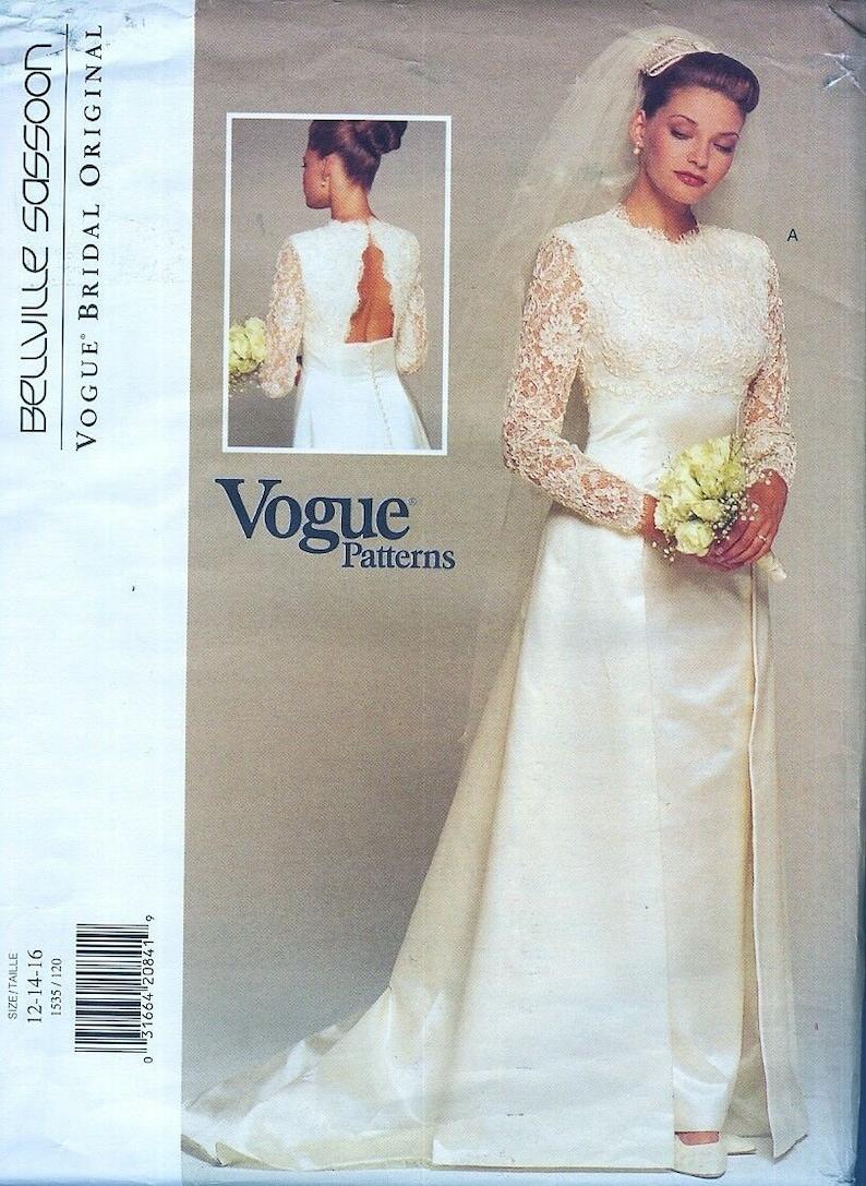 26db64a29e5 Vogue wedding gown pattern Sasson designer sheath skirt open