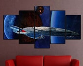 Star ship art, Printed on Canvas, 5 panel canvas, Starship Wall Art, Space Home Décor