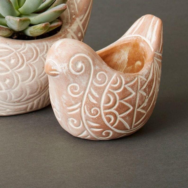 Terracotta Bird Planters Set