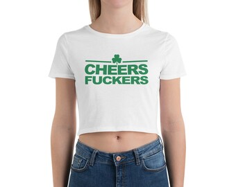 337399d69 Cheers Crop Top St. Patricks Day Crop Tee Irish Shamrock Top Paddys Day  Funny Cropped Shirt