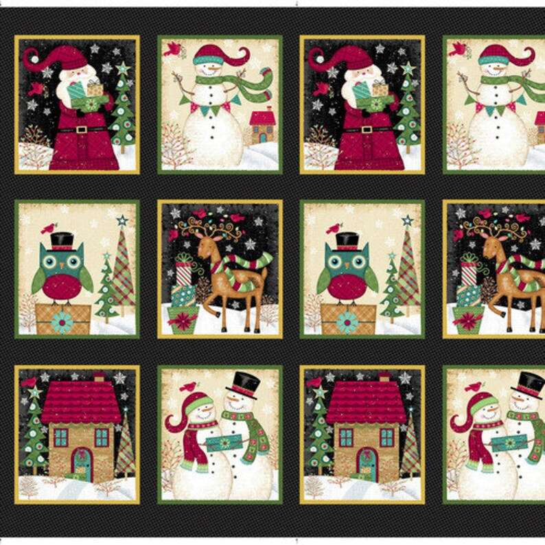 Merry Christmas Santa Packed Toys /& Holly Fabric bty PRICE REDUCED