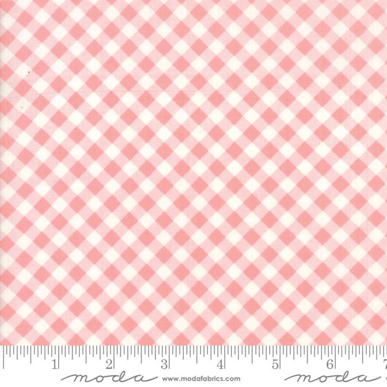 Ships Today Moda Bonnie and Camille Little Snippets Floral Little Bias Gingham Coral Pink Sold by the Yard and Cut Continuous