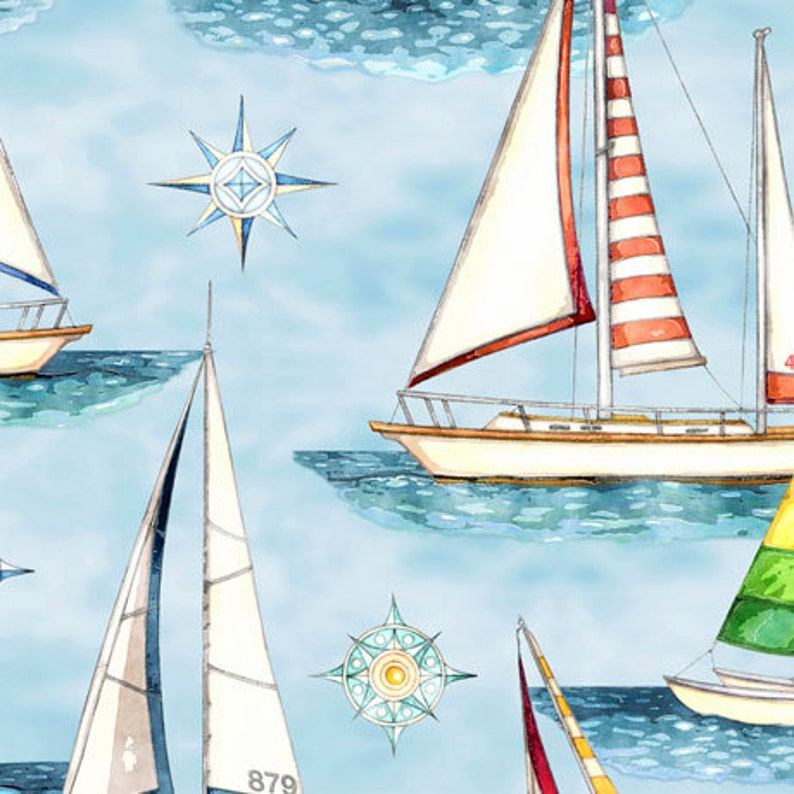 In Stock and Ships Today Sold by the Yard and Cut Continuous Sailboats Quilting Treasures Smooth Sailing by Dan Morris Light Cream