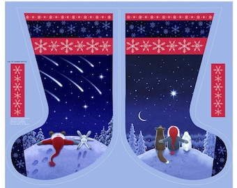 """Keep Believing - 36"""" Stargazing Stocking Panel - By Eva Melhuish For Lewis And Irene - Sold By The Panel - In Stock, Ships Today"""