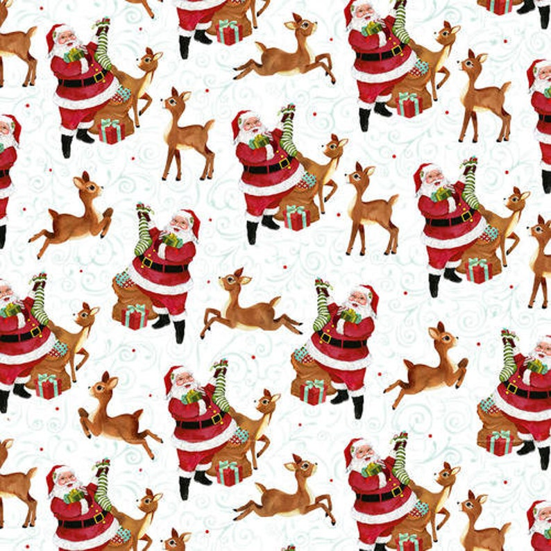 Sold by the Yard and Cut Continuous Ships Today Santa and Reindeer Jolly Ole Soul by Barb Tourtillotte for Henry Glass