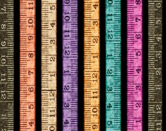 Tailor Made -  Tape Measure Stripe, Black, Digital Print - By Dan Morris for QT Fabrics - Sold by the Yard and Cut Continuous - Ships Today