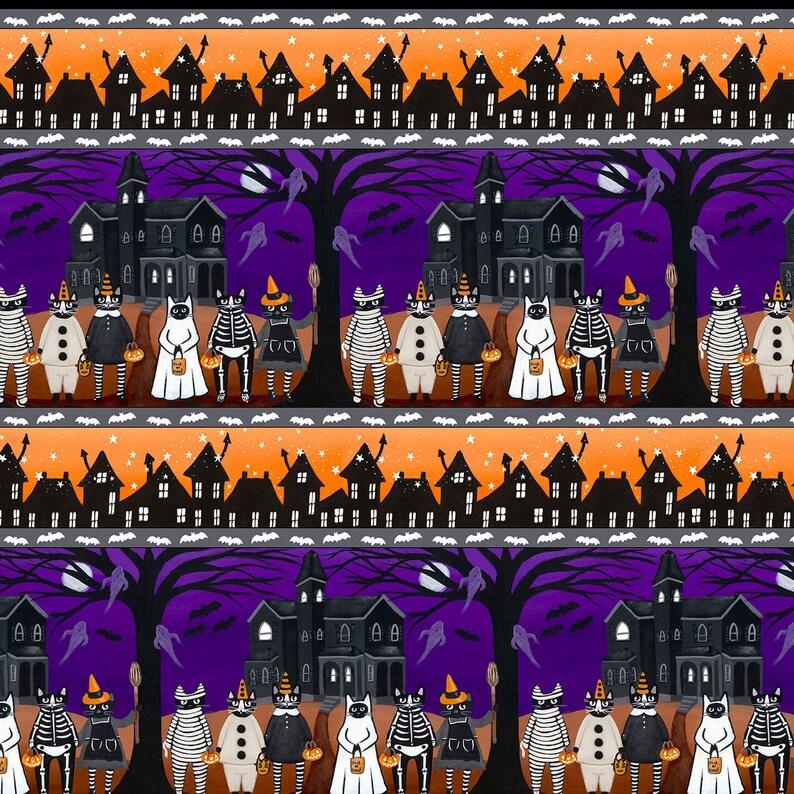 Blank Quilting YARD Halloween Stripe Owl Pumpkin Too Cute Spook Fabric