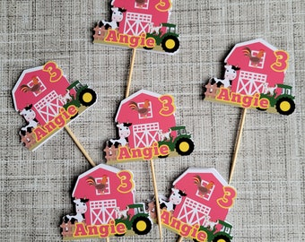 Pink Farm Cupcake Toppers Set of 6 | Cow Cupcake Toppers |  Pink Farm Theme Party Decor | Barn Cupcake Toppers