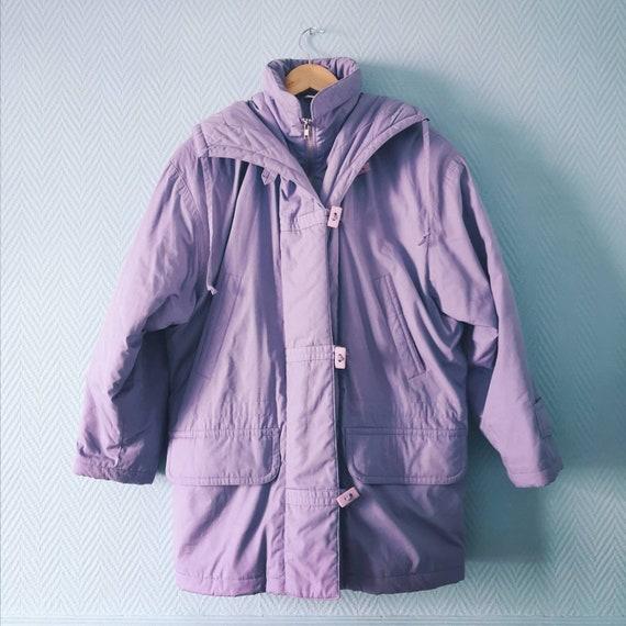 80's Violet Puffer / Parka Coat