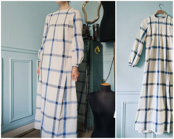 70's Long Checkered Cotton Dress