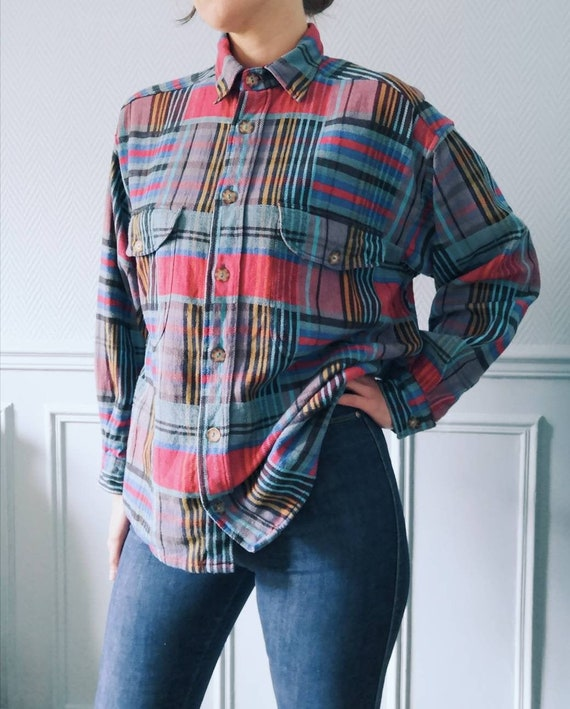 90's Blue Checkered Flannel Shirt