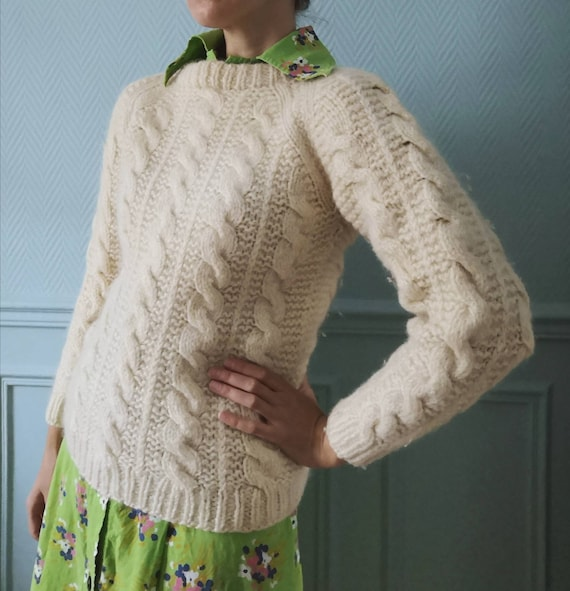 Vintage Hand Knitted Cable Knit Ecru Sweater