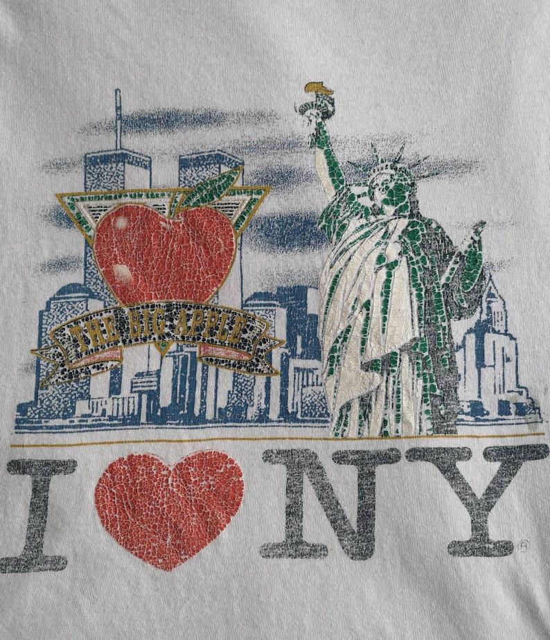 90/'s White New York The Big Apple T-Shirt