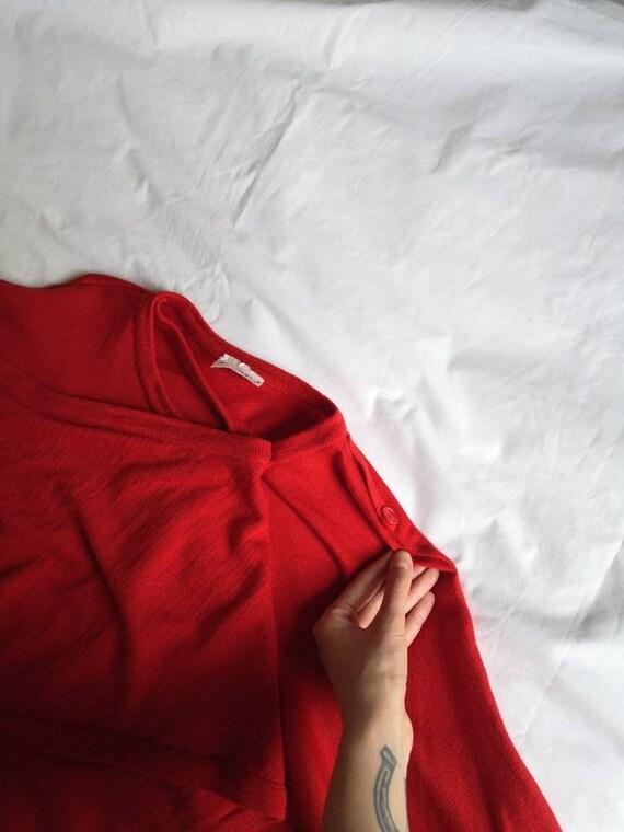 Vintage Red Marimekko Wool Tunic Knit - image 7