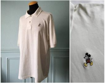 90's Mickey Mouse Disney White Polo Shirt