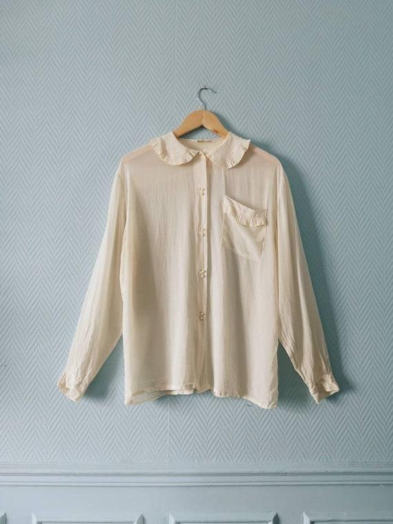 70's Ecru Silk Mix Statement Collar Blouse - image 2