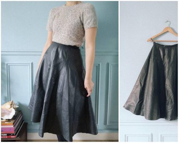 80's Grey Leather Full Skirt