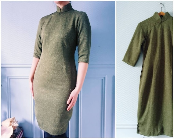 Circa 60's Olive Green Sparkly Cocktail Dress