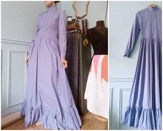 70's Laura Ashley Lilac Blue Prairie Dress