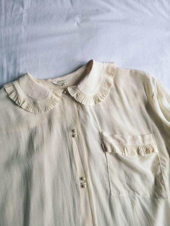70's Ecru Silk Mix Statement Collar Blouse - image 5