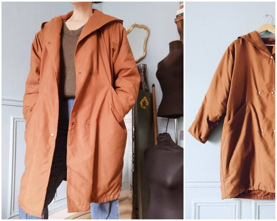 90's Copper Brown Minimal Parka / Light Puffer Coa