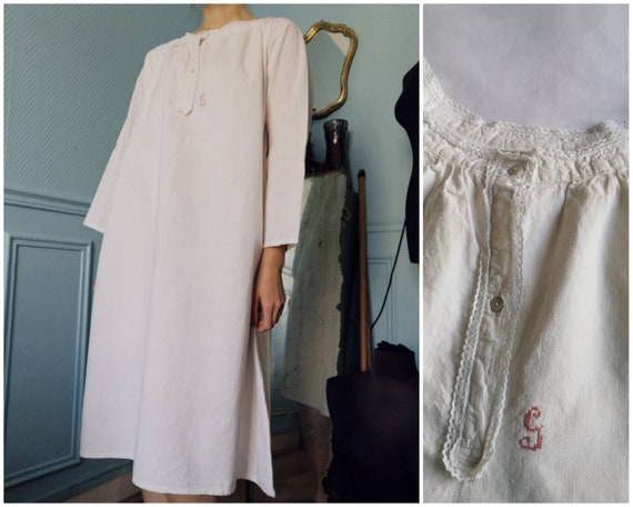 Edwardian French Antique Monogrammed Nightgown