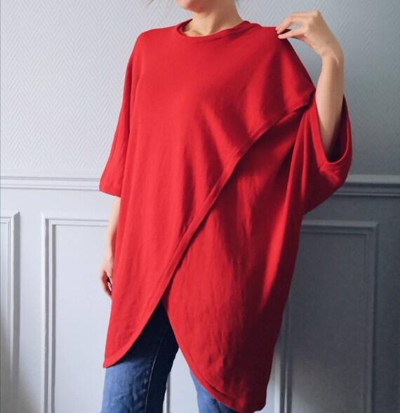 Vintage Red Marimekko Wool Tunic Knit - image 2