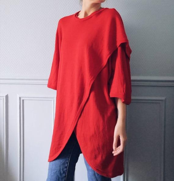 Vintage Red Marimekko Wool Tunic Knit - image 1